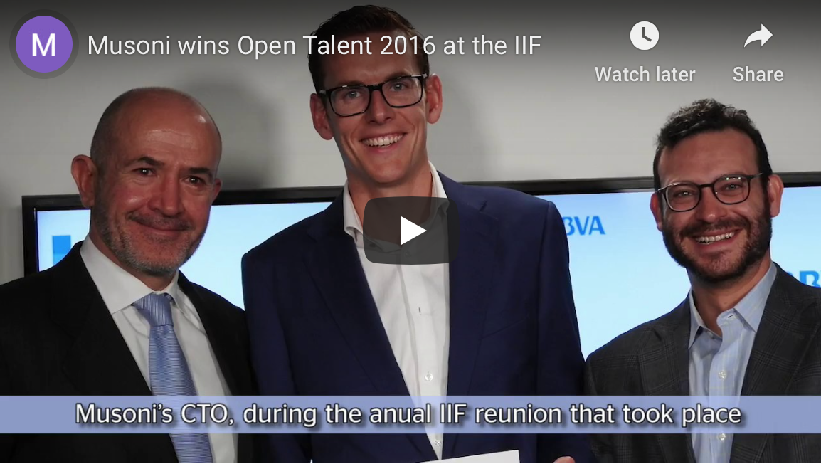 Musoni presented with the BBVA Open Talent Award at IIF Conference in Washington